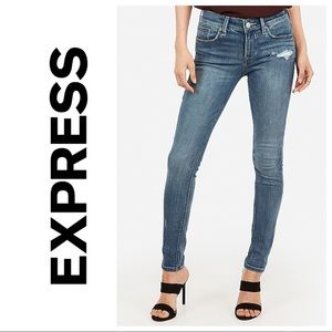 Express Mid Rise Medium Wash Skinny Jean 12 #A3